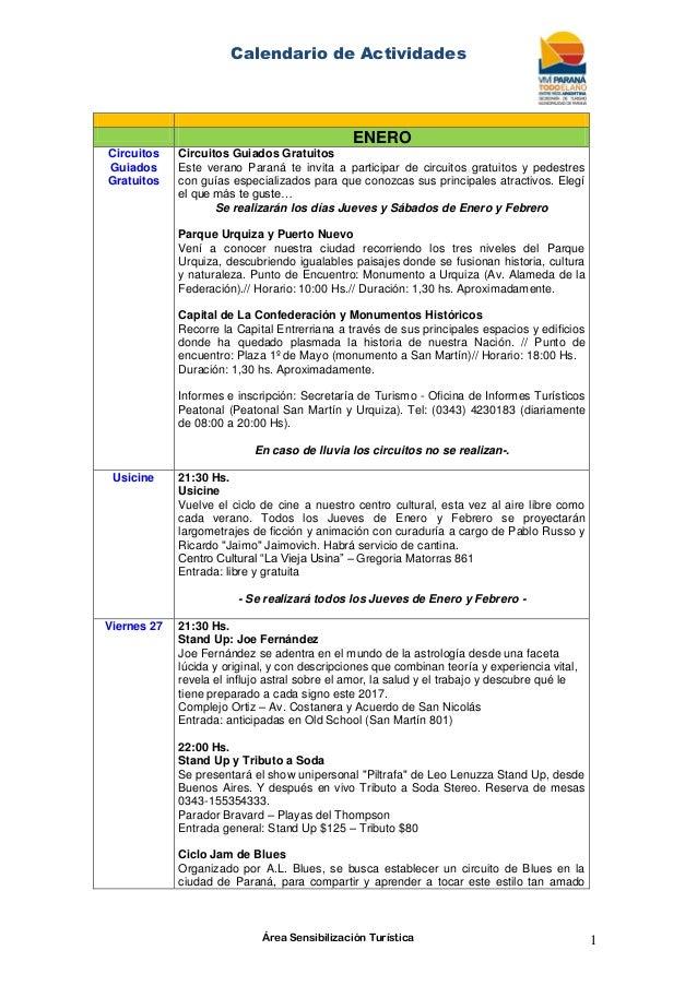 Calendario de Actividades Área Sensibilización Turística 1 ENERO Circuitos  Guiados Gratuitos Circuitos Guiados Gratuitos E. ... dc00f9da3a6a