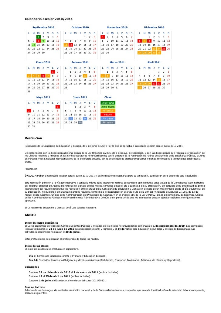 Calendario escolar 2010/2011       Septiembre 2010                        Octubre 2010                    Noviembre 2010  ...