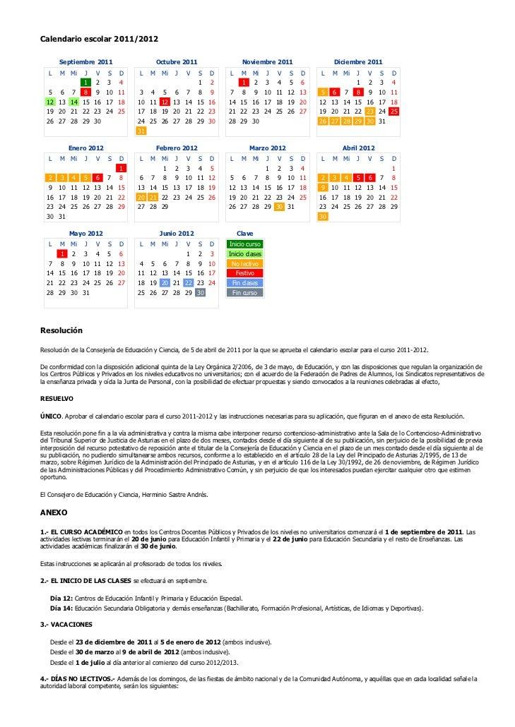 Calendario escolar 2011/2012       Septiembre 2011                       Octubre 2011                     Noviembre 2011  ...