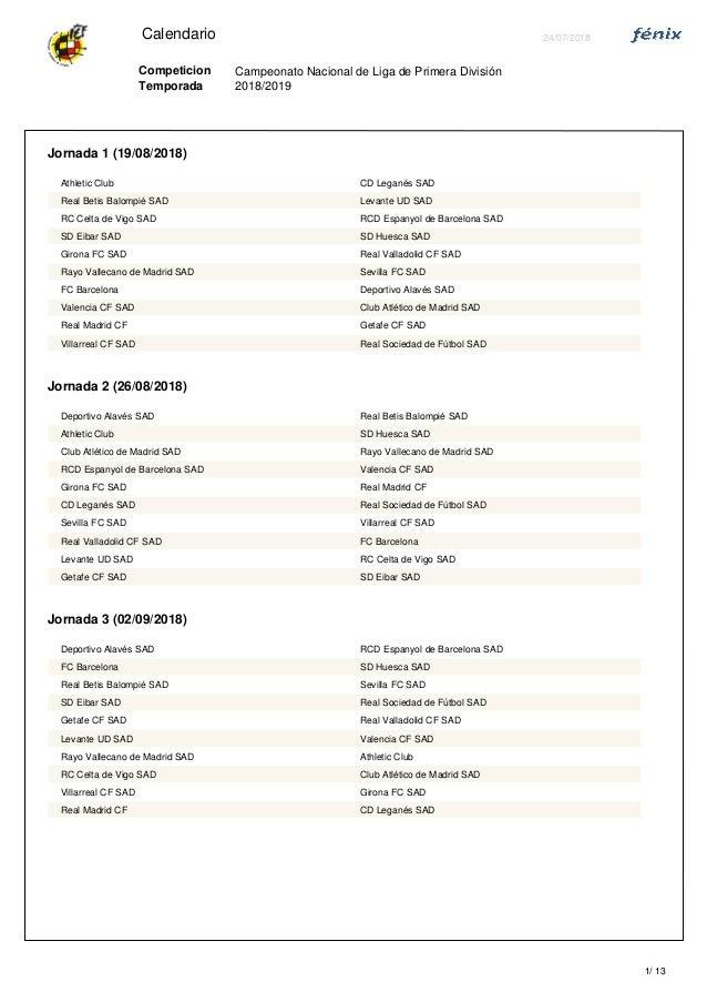 Calendario Celta Vigo.Calendario De Primera Division 2018 2019