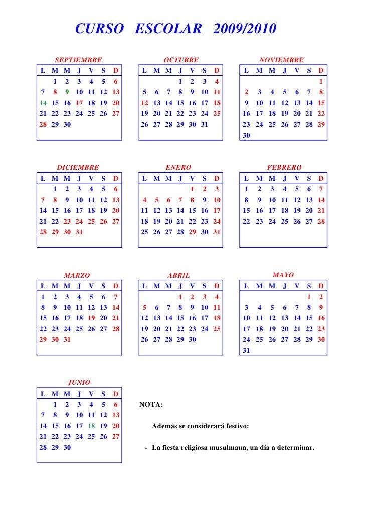 CURSO ESCOLAR 2009/2010       SEPTIEMBRE                         OCTUBRE                   NOVIEMBRE L    M M J V S       ...