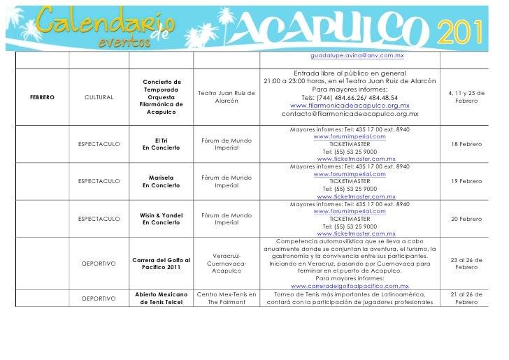 Calendario De Actividades Eventos: Calendario De Actividades En Acapulco