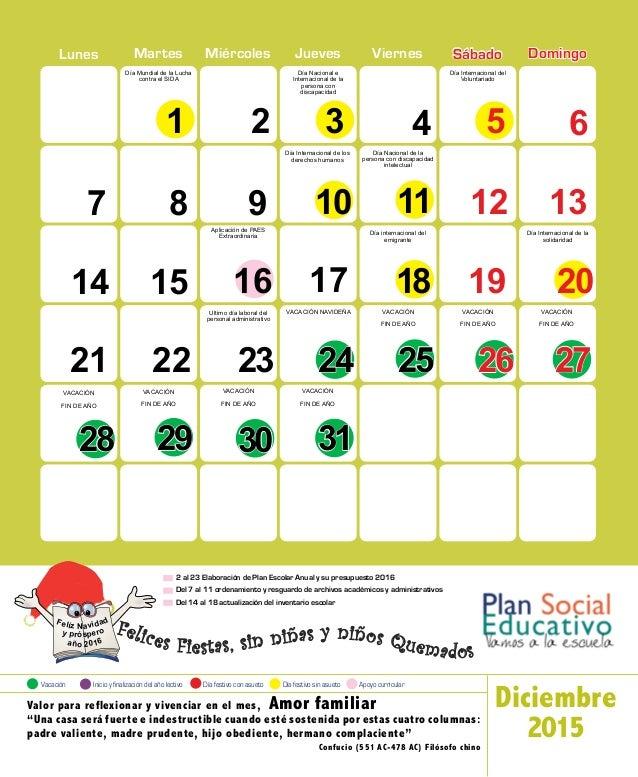 Calendario Escolar 2015 | El Salvador