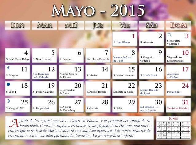 Calendario 2015 Salvadme Reina de Fátima