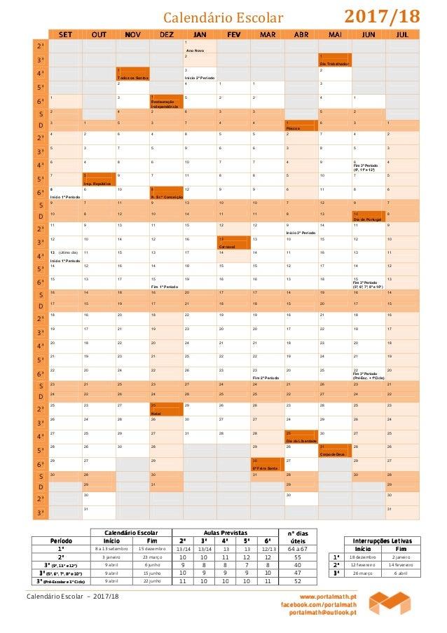 Calendário Escolar – 2017/18 www.www.www.www.portalmath.portalmath.portalmath.portalmath.ptptptpt facebook.com/portalmathf...