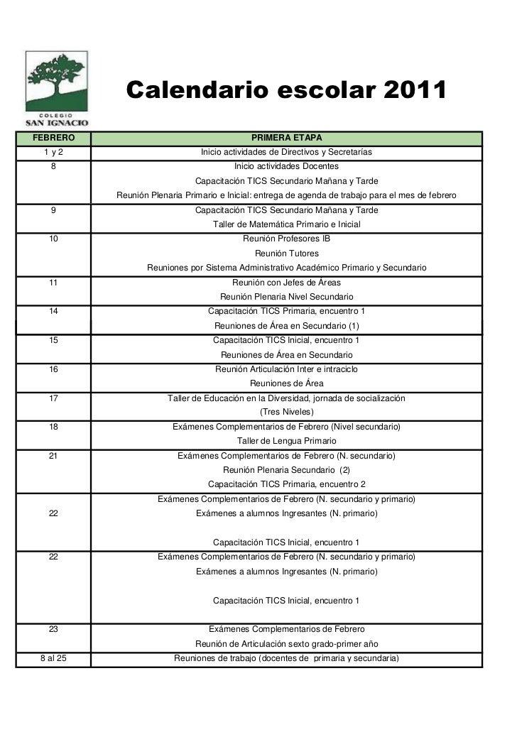 Calendario escolar 2011FEBRERO                                      PRIMERA ETAPA 1y2                            Inicio ac...