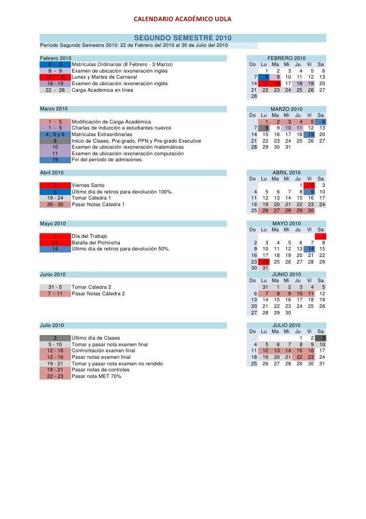 Calendario Academico Udla 2019.Calendario Academico 2010