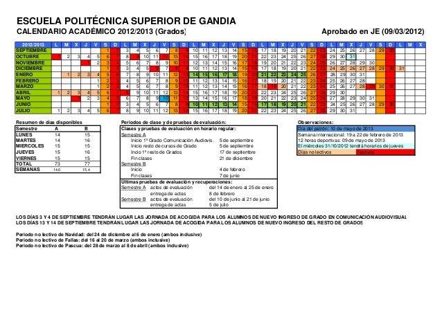 ESCUELA POLITÉCNICA SUPERIOR DE GANDIACALENDARIO ACADÉMICO 2012/2013 (Grados)                                             ...