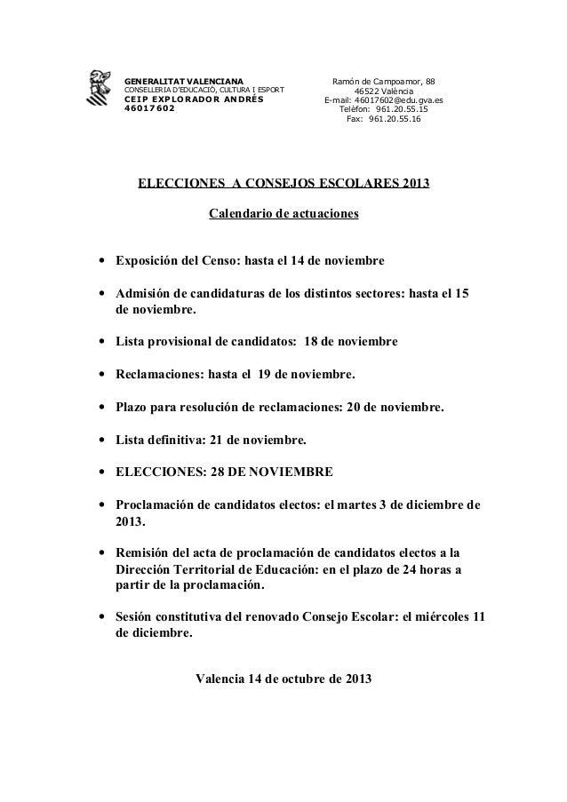 GENERALITAT VALENCIANA  CONSELLERIA D'EDUCACIÓ, CULTURA I ESPORT  CEIP EXPLORADOR ANDRÉS 46017602  Ramón de Campoamor, 88 ...