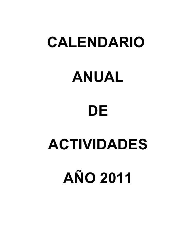 CALENDARIO  ANUAL    DEACTIVIDADES AÑO 2011