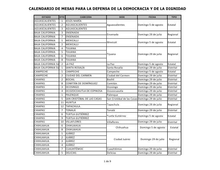 CALENDARIO DE MESAS PARA LA DEFENSA DE LA DEMOCRACIA Y DE LA DIGNIDAD       ESTADO       DTO             CABECERA         ...