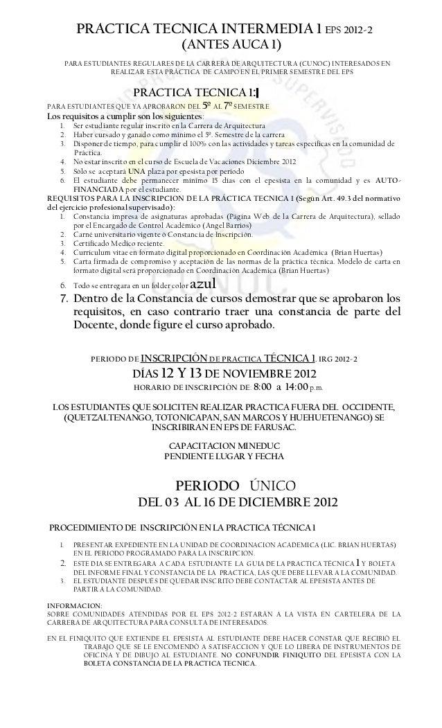 PRACTICA TECNICA INTERMEDIA 1 EPS 2012-2                                        (ANTES AUCA 1)        PARA ESTUDIANTES REG...
