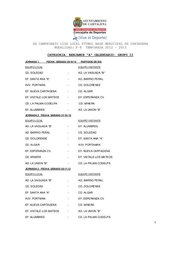 XX CAMPEONATO LIGA LOCAL FÚTBOL BASE MUNICIPAL DE CARTAGENA                MODALIDAD: F-8 TEMPORADA 2012 – 2013           ...