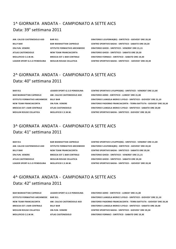 1^ GIORNATA ANDATA - CAMPIONATO A SETTE AICSData: 39° settimana 2011AM. CALCIO CASTENEDOLO ASD     BAR 911                ...