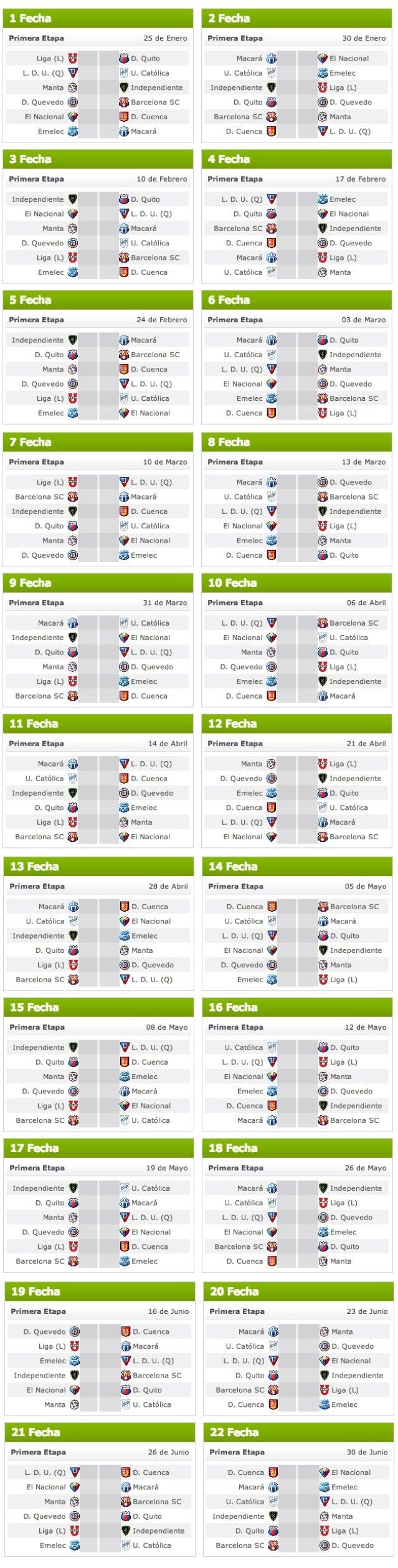 Calendario campeonato ecuatoriano 2013