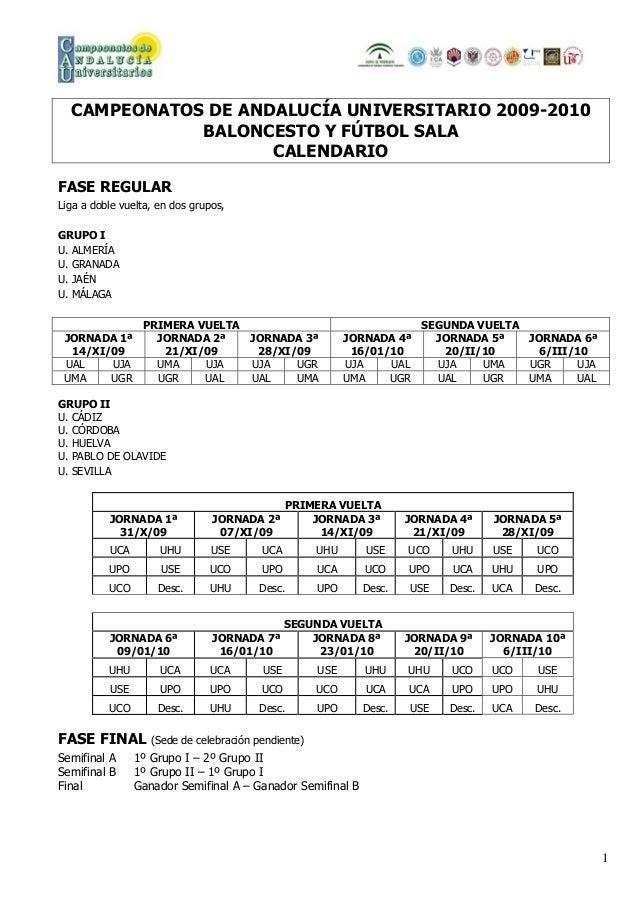 Calendario Ual.Calendario Cau 2010 De Baloncesto Y Futbol Sala