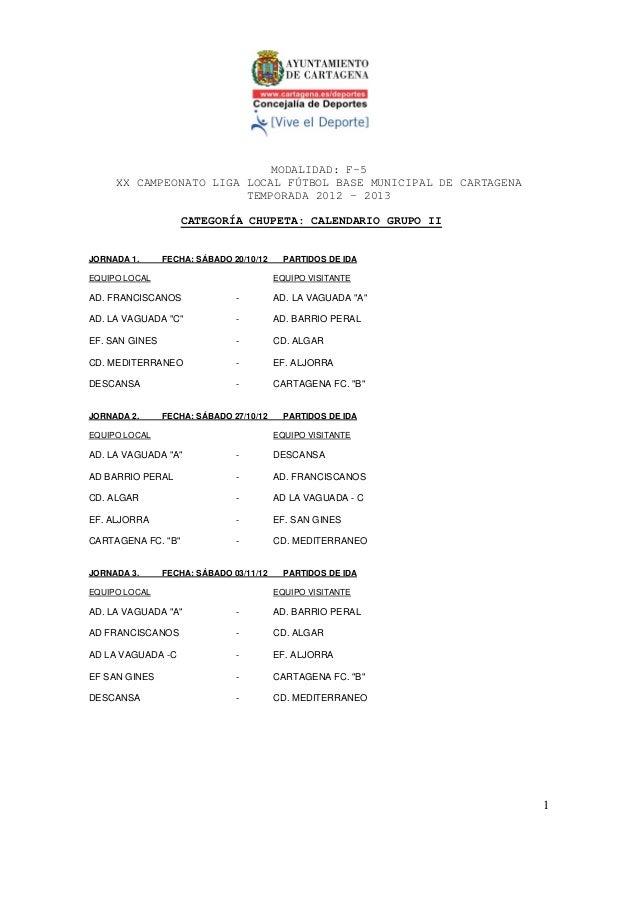MODALIDAD: F-5     XX CAMPEONATO LIGA LOCAL FÚTBOL BASE MUNICIPAL DE CARTAGENA                        TEMPORADA 2012 – 201...