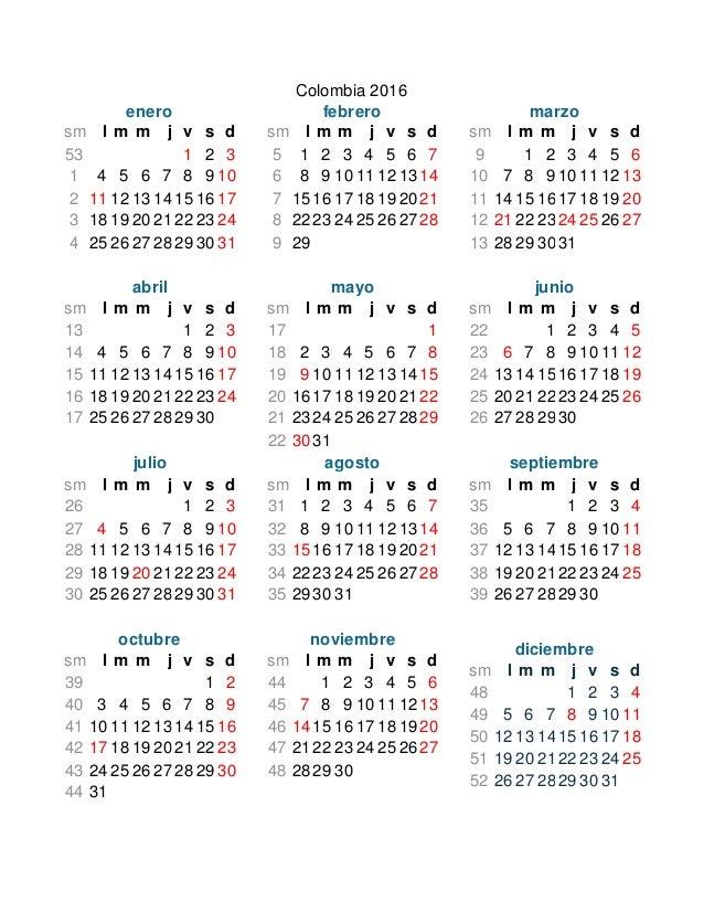 Calendario Colombia 2019 Octubre.Calendario Colombia Con Festivos 2016 Y 2017