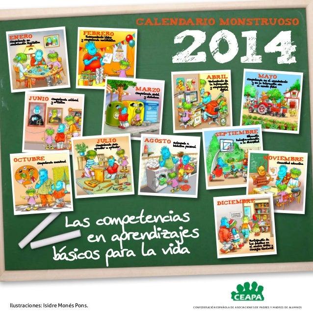 Calendario monstruoso  2014  FEBRERO  ro eneia en tenc  Razonamiento lógico y competencia matemática  Compe lingüística co...