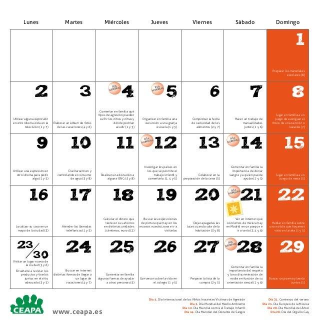 Lunes  Martes  Miércoles  Jueves  Viernes  Sábado  Domingo  1 Preparar los materiales escolares (8)  2  3  DÍA L DIA MUN  ...