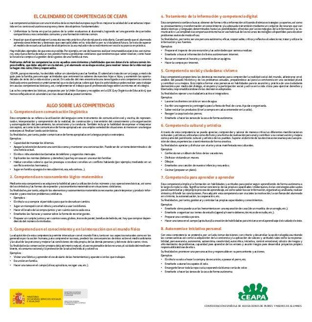 EL CALENDARIO DE COMPETENCIAS DE CEAPA Las competencias básicas son una iniciativa de la comunidad europea cuyo fin es mej...