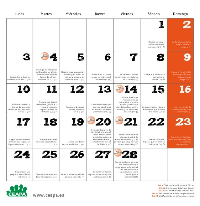 Lunes  Martes  Miércoles  Jueves  Viernes  Sábado  Domingo  1 Realizar un colage utilizando material reciclado (1, 3 y 5) ...
