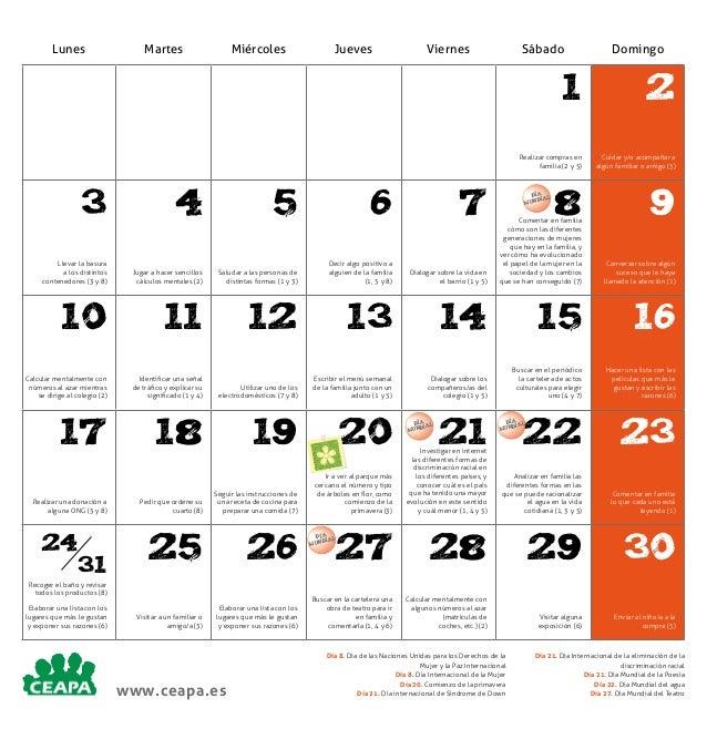 Lunes  Martes  Miércoles  Jueves  Viernes  Sábado  Domingo  1 Realizar compras en familia (2 y 5)  3  4  5  6  7  Llevar l...