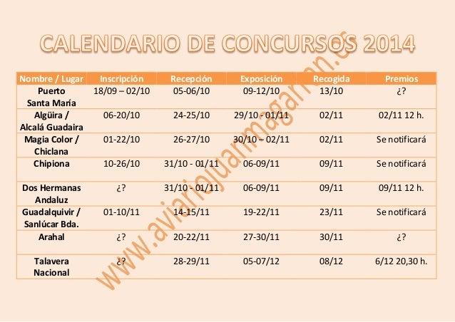 Nombre / Lugar Inscripción Recepción Exposición Recogida Premios  Puerto  Santa María  18/09 – 02/10 05-06/10 09-12/10 13/...