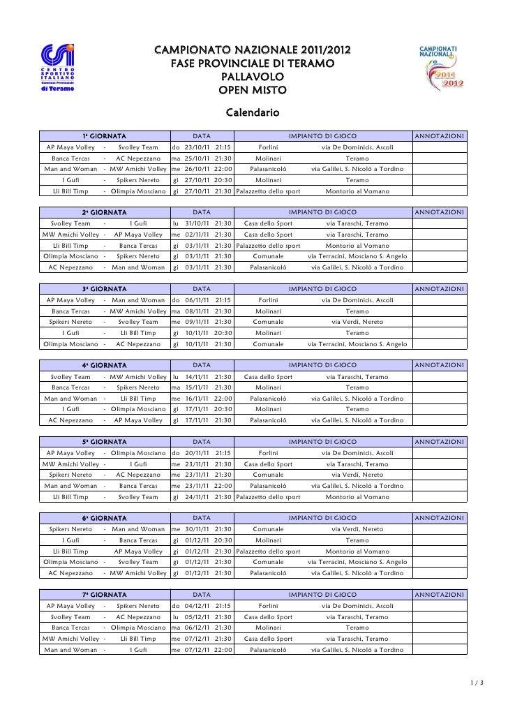 Calendario Team Teramo.Calendario Csi