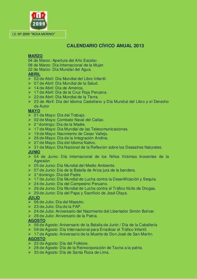 calendario c u00edvico anual 2013