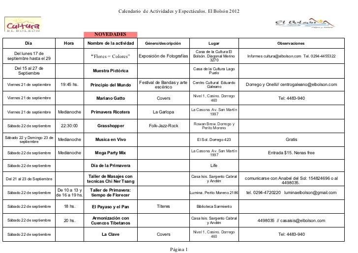 Calendario de Actividades y Espectáculos. El Bolsón 2012                                                 NOVEDADES        ...