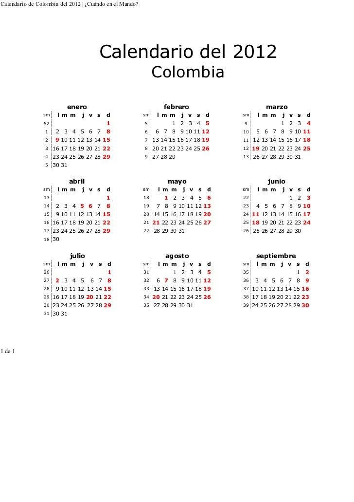 Calendario de Colombia del 2012 | ¿Cuándo en el Mundo?                                                            http://w...