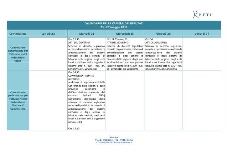 CALENDARIO DELLA CAMERA DEI DEPUTATI                                                        23 - 27 maggio 2011 Commission...