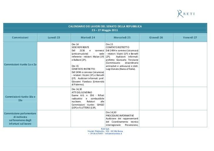 Commissione Giustizia Senato Calendario.Calendario Dei Lavori Del Senato Della Repubblica 23 27