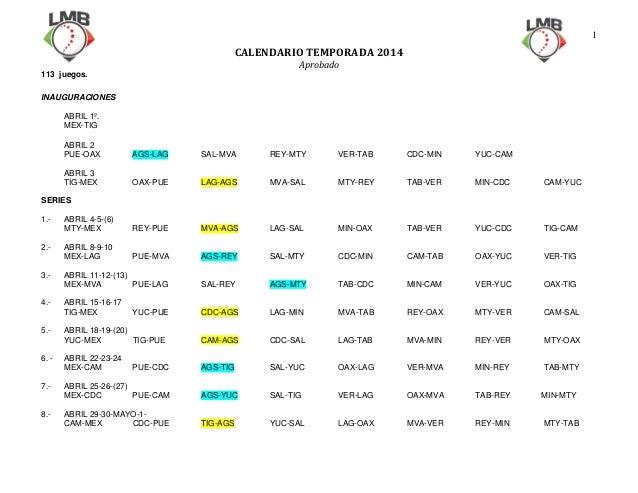 1  CALENDARIOTEMPORADA2014 Aprobado 113 juegos.   INAUGURACIONES ABRIL 1º. MEX-TIG ABRIL 2 PUE-OAX  AGS-LAG  SAL-MVA...
