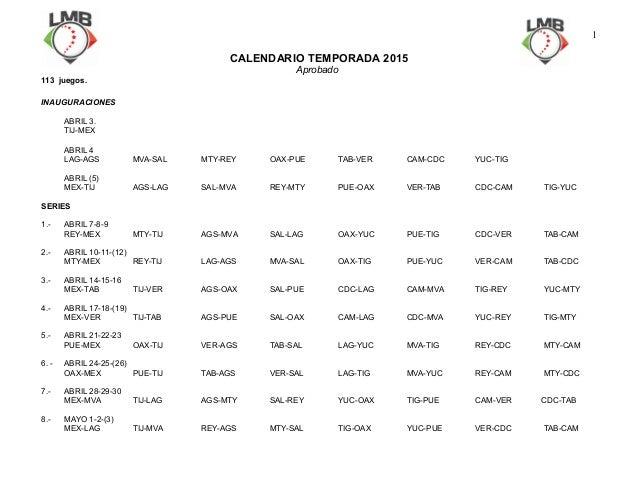 CALENDARIO TEMPORADA 2015 Aprobado 113 juegos. INAUGURACIONES ABRIL 3. TIJ-MEX ABRIL 4 LAG-AGS MVA-SAL MTY-REY OAX-PUE TAB...