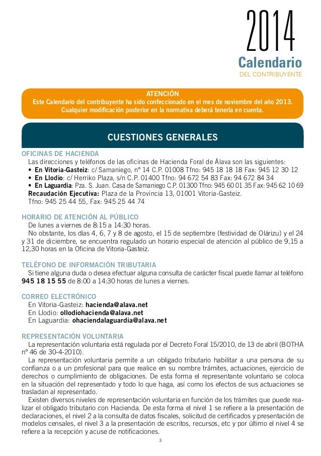 Calendario fiscal abril 2014 alava for Oficina del contribuyente