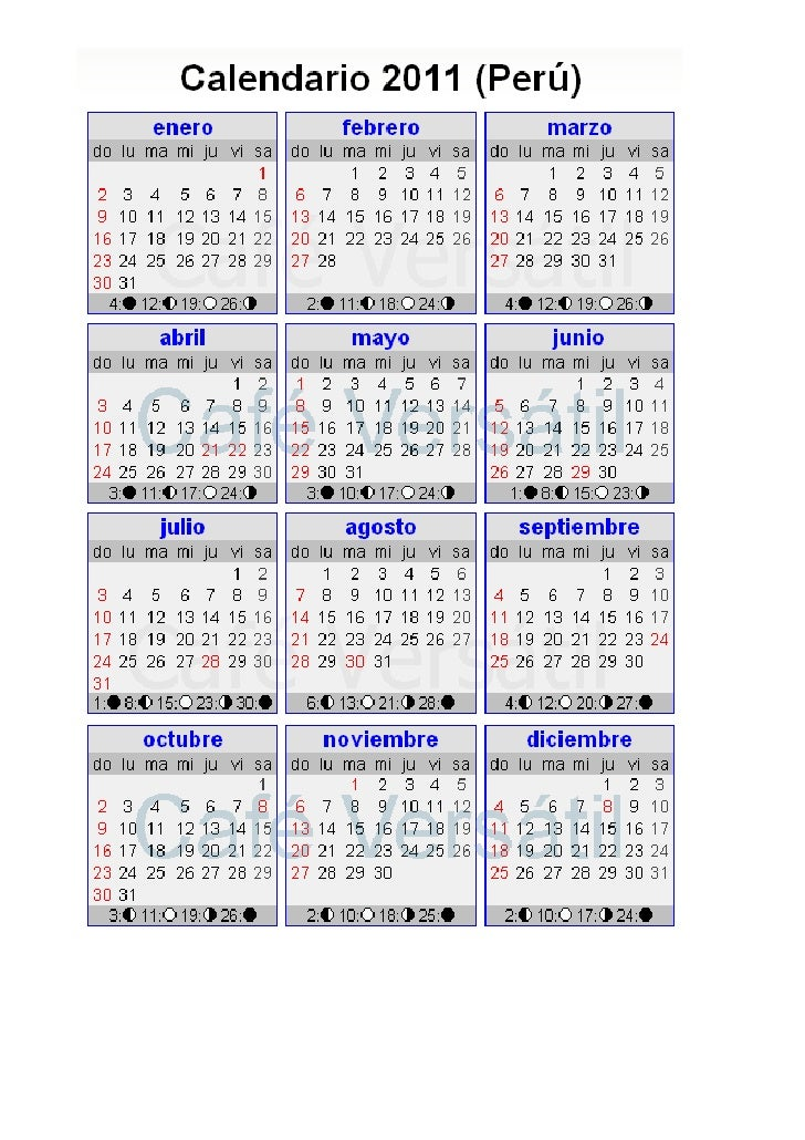 Calendario del per 2011 y pagina web para todos a os for Horario peru wellness