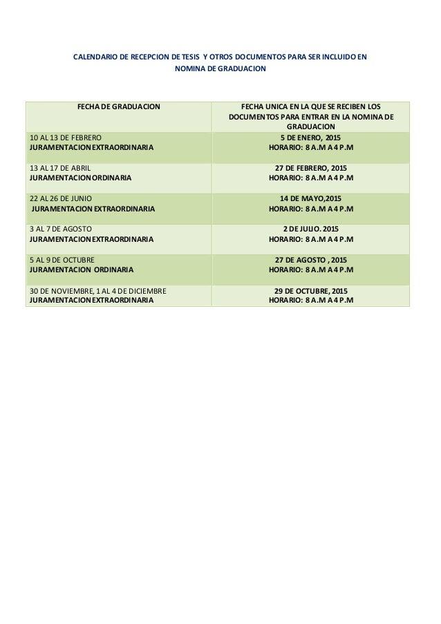 Calendario De Tesis.Calendario De Recepcion De Tesis Y Otros Documentos Para Ser