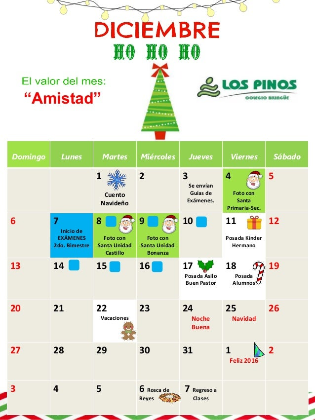 Calendario Diciembre.Calendario Diciembre 2015