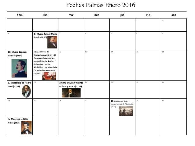 Calendario Fechas Patrias Venezolanas 2016 Slide 2