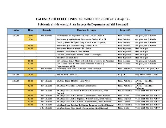 Calendario Febrero 2019.1 Calendario Elecciones De Cargo Febrero 2019