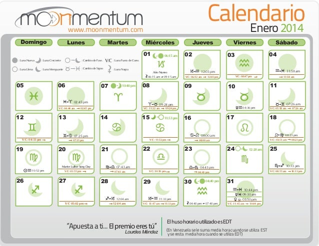 Calendario enero 2014 for Proxima luna creciente