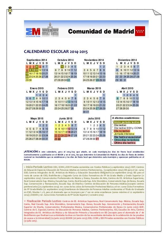 Calendario Escolar Madrid.Calendario Escolar Madrid 2014 15