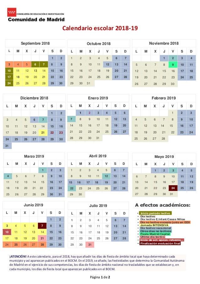 Página 1 de 2 Calendario escolar 2018-19 ¡ATENCIÓN! A este calendario, para el 2018, hay que añadir los días de fiesta de ...