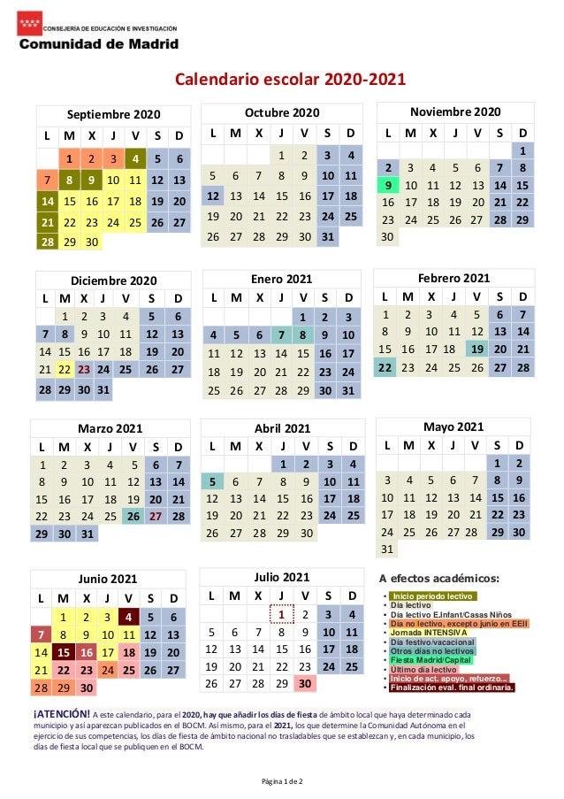 Calendario escolar 2020 2021.
