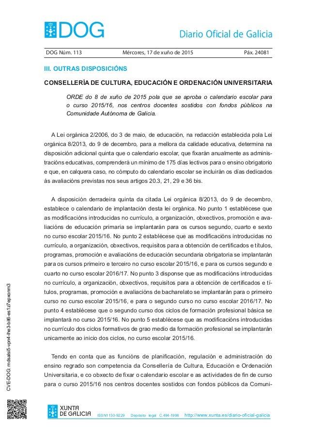 Calendario Escolar Xunta.Calendario Escolar 2015 2016