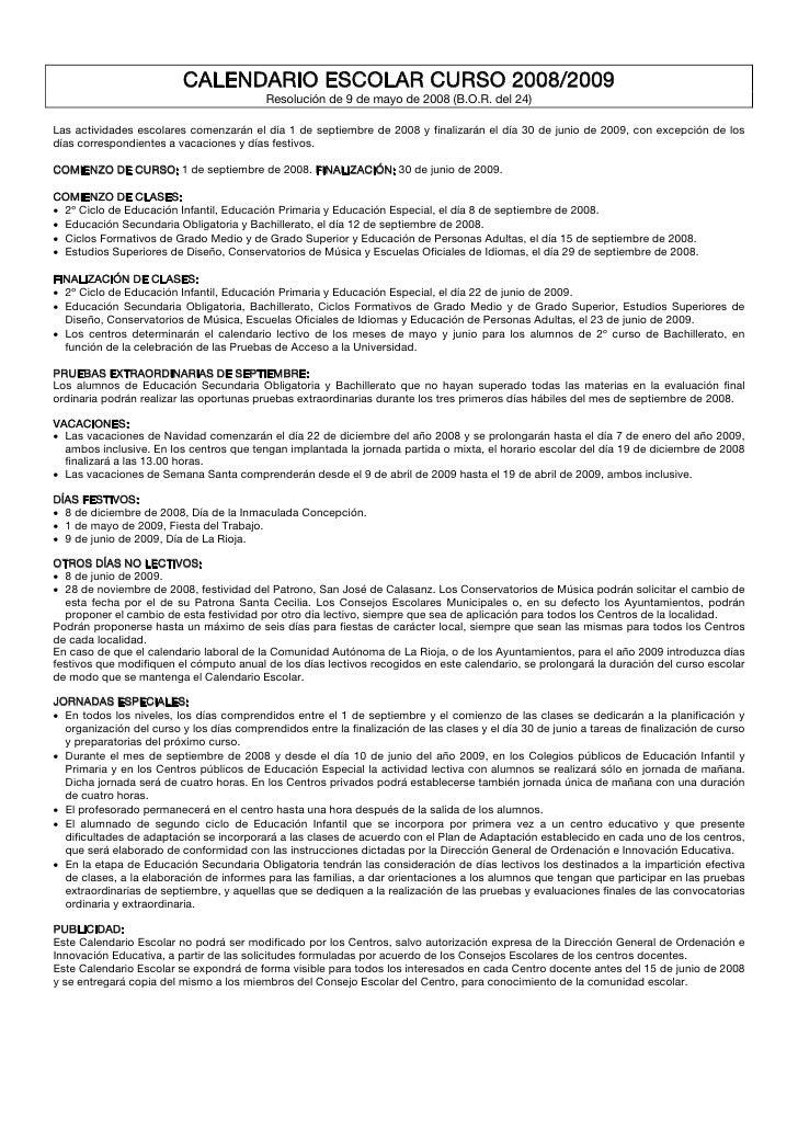 CALENDARIO ESCOLAR CURSO 2008/2009                                           Resolución de 9 de mayo de 2008 (B.O.R. del 2...
