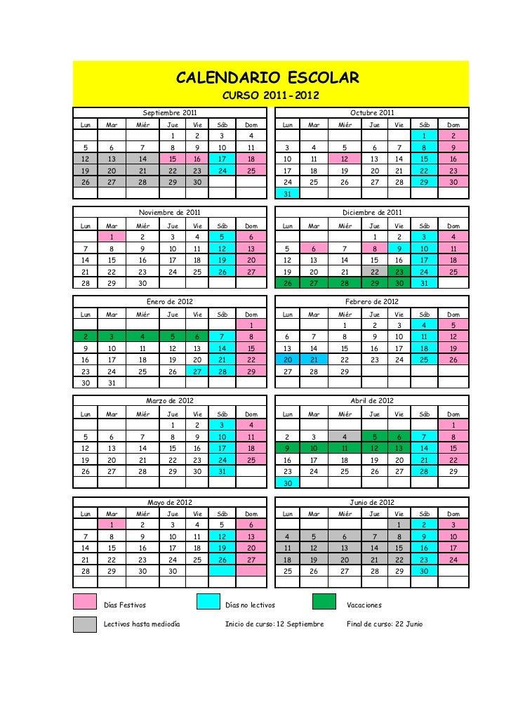 Calendario Escolar 18 19 Cantabria.Calendario Escolar 2011 12