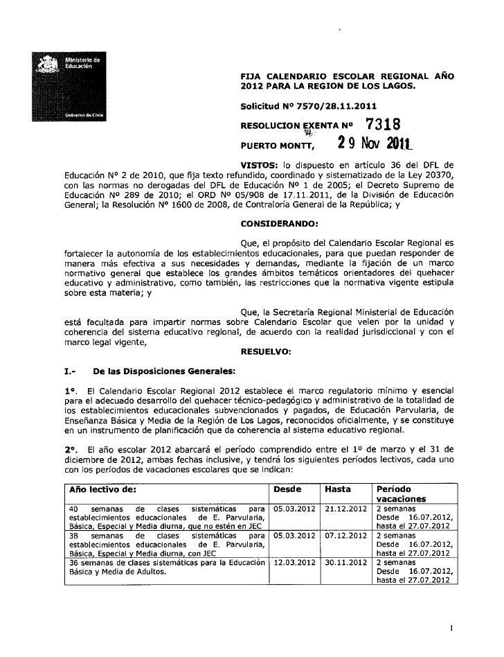 Ministerio deeduc ación                                                FIJA CALENDARIO ESCOLAR REGIONAL AÑO               ...